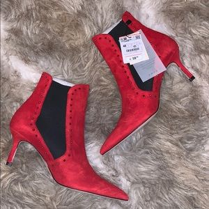 ZARA STUD ACCENT SUEDE RED ANKLE BOOTIES BNWT